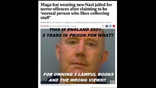 WHITE british man gets 5yrs prison for 3 lawful books & wrong views