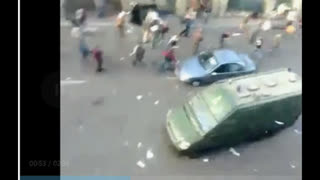 Arab Spring 2011 -Police (government) van mercilessly drives into protester