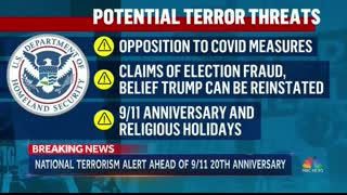 Bidens DHS - You are a Terrorist If you believe in Election Fraud, Anti Vaccine/Covid,  or 911 Conspiracies