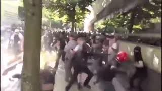 Must see -  US Protesters Vs ANTIFA fight - several ANTIFA are knocked out cold!