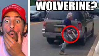 Man with Wolverine Claws Confronts Protesters