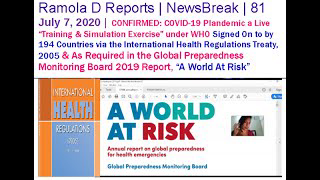 """NewsBreak 81: CONFIRMED: COVID-19 Plandemic a Known, Live """"Training & Simulation Exercise"""" under WHO"""