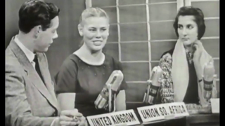 1958 High School Exchange. India, Pakistan, South Africa, UK. Subject: What is the USA known for?