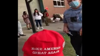 Cop Threatens Student With Arrest If He Doesn't Take Off His MAGA Hat.