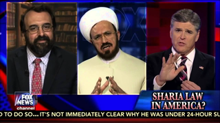 Muslims Want Sharia Law in Non Muslim Countries Robert Spencer. Replace Sharia with white supremacy. Get the picture?  at 08:16 Hanity says he does not like the crucifix dipped in urine. Muslim believe Jesus was a prophet and the Messiah. That would be blasphemy and out right slanderous. Very manipulative if you do not have eyes  to  see