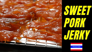Sweet Pork Jerky  // Dried and Deep Fried // Sweet Sticky Snack from Thailand