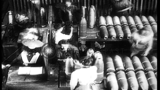 Final steps in munitions manufacture at factory in Germany during World War I HD Stock Footage