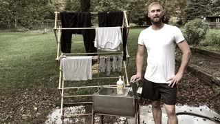 Washing clothes without electricity! Lehman's washer and wringer set
