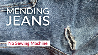 How to mend tear in jeans by hand