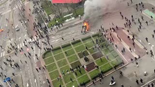 ANTILOCKDOWN PROTEST TURN INTO RIOTS IN EINDHOVEN HOLLAND