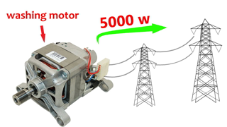 How to turn 220V Electric Generator from a Washing Machine Motor - Step by step