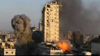Israeli photographer films Al-Sharouk Tower being destroyed in Gaza (Different Angle)