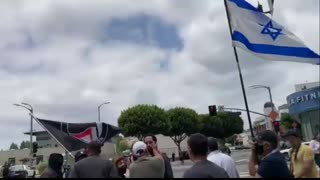 Earlier in LA: Antifa group in Los Angeles confront a Jewish group marching in support of Israel